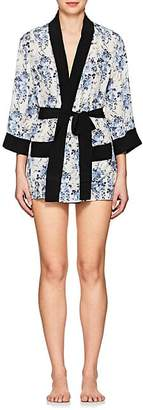 Barneys New York Women's Floral Silk Short Robe - Rr Blue White Floral
