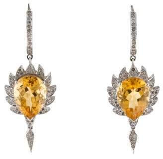 Meghna Jewels Citrine & Diamond Claw Earrings Gold Meghna Jewels Citrine & Diamond Claw Earrings