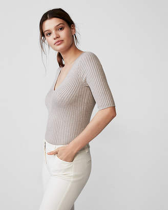 Express Elbow Sleeve Ribbed Pullover Sweater