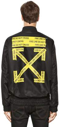 Off-White Off White Fire Line Tape Nylon Bomber Jacket