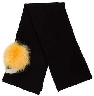 Fendi Fox-Trimmed Wool Scarf