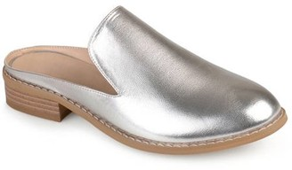 2a810b732eda71 Womens Slide-on Stacked Heel Faux Leather Mules