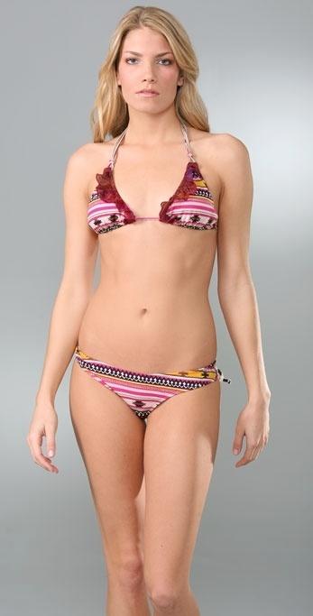 Tyler Rose Swimwear Aztec Ruffle Triangle Bikini Top