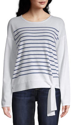 ST. JOHN'S BAY Womens Round Neck Long Sleeve Stripe Pullover Sweater