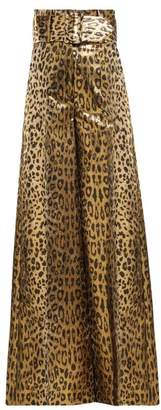 Sara Battaglia Wide Leg Leopard Lame Trousers - Womens - Leopard