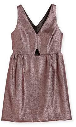 Milly Minis Sam V-Neck Cutout Stretch-Lurex® Dress, Size 8-16