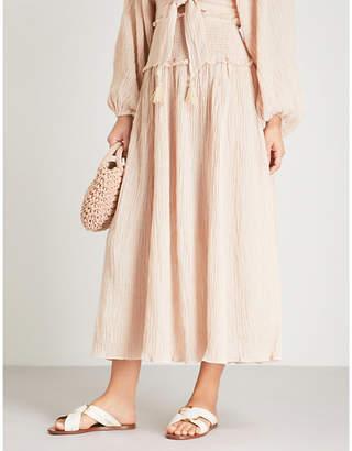 Zimmermann Bayou ramie and cotton-blend midi skirt