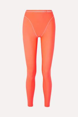 Adam Selman Neon Printed Stretch Leggings - Bright orange