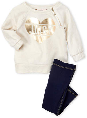 Juicy Couture Infant Girls) Two-Piece Heart Logo Graphic Sweatshirt and Pants