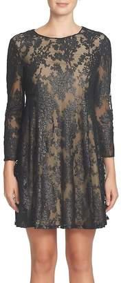 CeCe Asha Burnout Mesh A-Line Dress