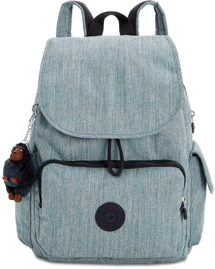Kipling Ravier Denim Backpack - INDIGO BLUE/SILVER - STYLE