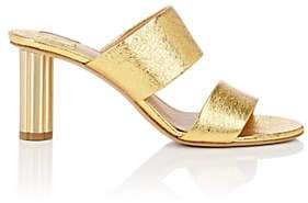 Salvatore Ferragamo Women's Flower-Heel Metallic Leather Sandals - Gold