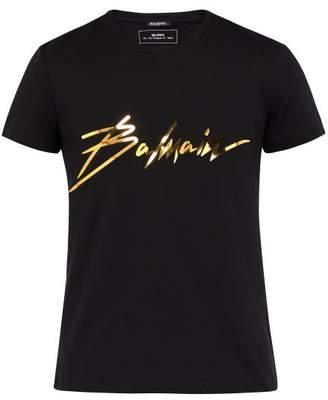 Balmain Logo Print Cotton T Shirt - Mens - Black Gold