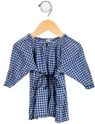 Makie Girls' Gingham Sash-Tie Top