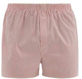 Sunspel Striped Cotton Poplin Boxer Shorts - Mens - Red Multi