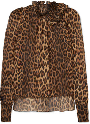 Magda Butrym Canazei Ruffle-trimmed Leopard-print Silk-chiffon Blouse - Leopard print