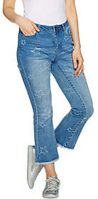 Peace Love World Cropped Jeans w/ Star PatternDistressing