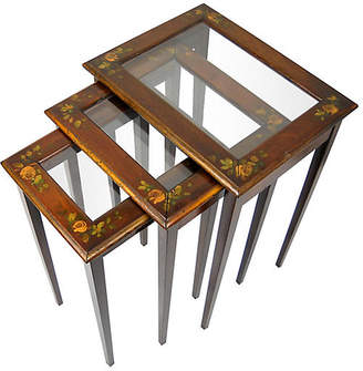 One Kings Lane Vintage Hand-Painted Nesting Tables - Set of 3 - Acquisitions Gallerie