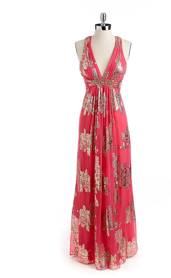 Xscape Evenings Foil-Print Cross-Backed Gown