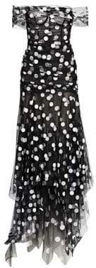 Oscar de la Renta Off-The-Shoulder Draped Polka Dot Gown