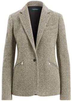 Ralph Lauren Herringbone Tweed Blazer Black/Cream Multi 10