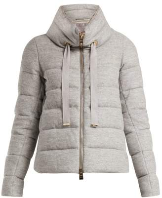 Herno Funnel Neck Quilted Jacket - Womens - Light Grey