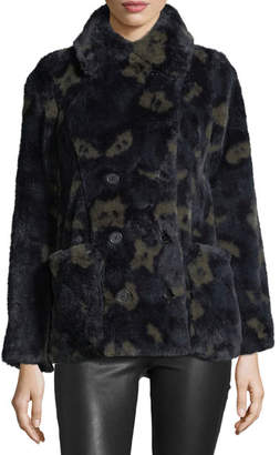 Zadig & Voltaire Miles Leao Double-Breasted Printed Faux-Fur Coat