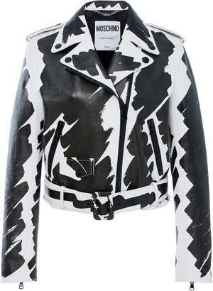 Moschino Printed Leather Jacket
