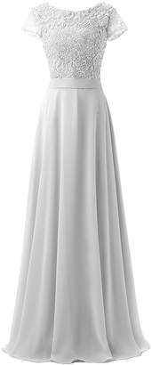 CutieTell High Neck Chiffon Lace Long Evening Dresses for Women with Short Sleeves US