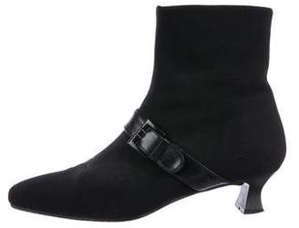 Stuart Weitzman Woven Square-Toe Ankle Boots