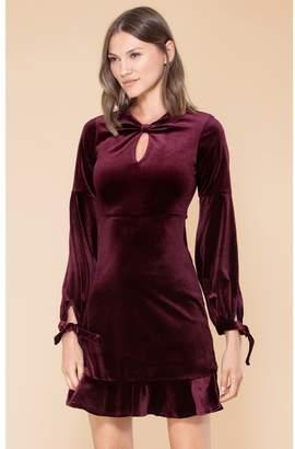 Hale Bob Hilda Stretch Velvet Keyhole Dress