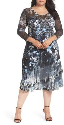 Komarov Floral Georgette & Chiffon A-Line Dress
