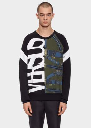 Versace Mixed Logo Print Cotton Sweatshirt