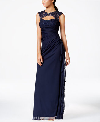 B&A by Betsy and Adam Lace-Trim Cutout Ruched Gown $119 thestylecure.com