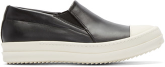 Rick Owens Black Leather Boat Sneakers $980 thestylecure.com