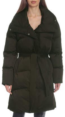 AVEC LES FILLES Midi Wrap Puffer Coat w/ Belt