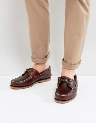 Timberland Classic Boat Shoes In Brown Leather