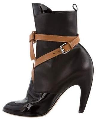 Louis Vuitton Leather Crossover Ankle Boots