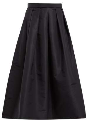 Tibi Silk Faille Midi Skirt - Womens - Navy
