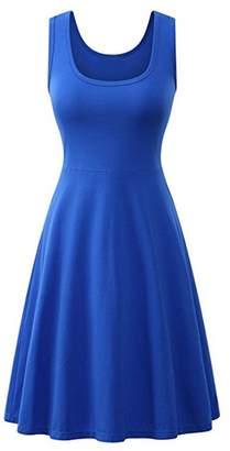 Jumojufol Women's Elegant Basic Round Neck Sleeveless Daily A Line Sundress XL