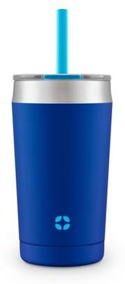 Leapfrog Ello Rise Vacuum Insulated Stainless Steel Kids Tumbler with Optional Straw, Touchdown Blue, 12 oz.