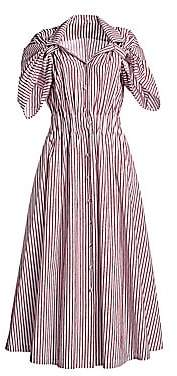 By Any Other Name Women's Velvet Stripe Shirred Waist Tea Dress