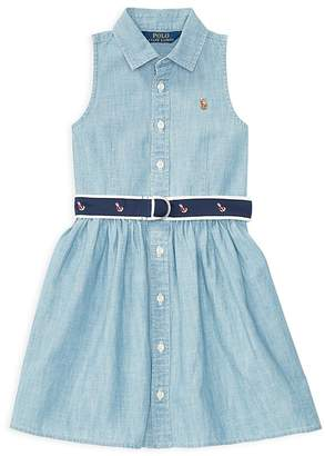 Polo Ralph Lauren Girls' Belted Chambray Shirtdress - Little Kid