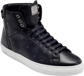 MCM Men's High Top Turnlock Sneakers In Visetos