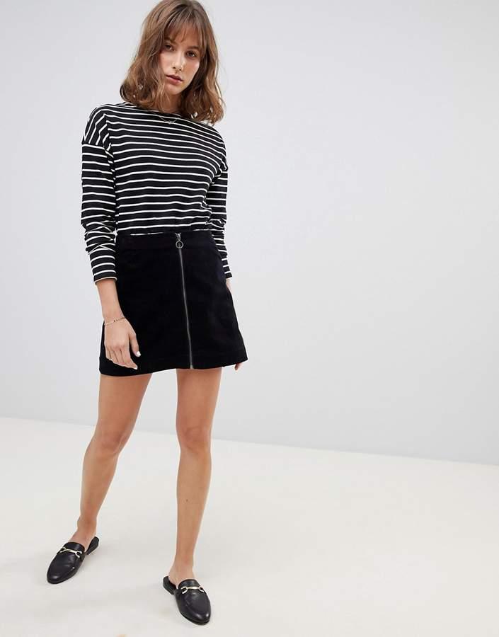 People Tree Mini Skirt In Velvet