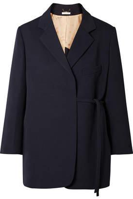 Chloé Oversized Asymmetric Wool-blend Twill Blazer - Navy