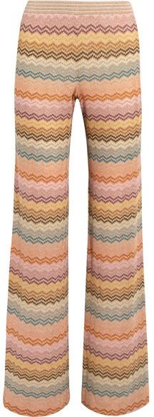 Missoni - Metallic Crochet-knit Wide-leg Pants - Peach