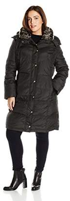 London Fog Women's Plus-Size Mid-Length Faux-Fur Collar Down Coat with Hood,2X