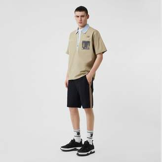 Burberry Icon Stripe Detail Cotton Twill Chino Shorts