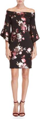 Bebe Floral Off-the-Shoulder Sheath Dress